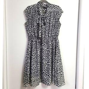 Leopard Print Black and White Bow Dress XL